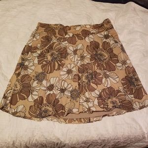 Mossimo tan/ brown floral skater skirt w/ POCKETS
